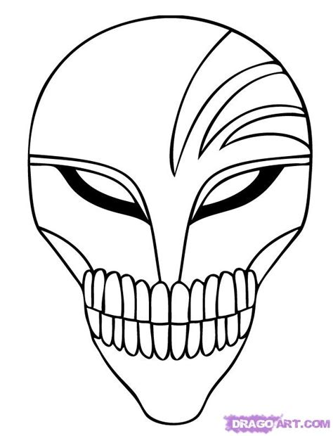 drawing kids of masks clipart best how to draw hollow mask step by step bleach characters