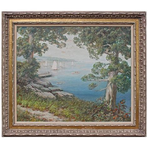 decorative artists of long island large oil painting quot long island sound quot for sale at 1stdibs