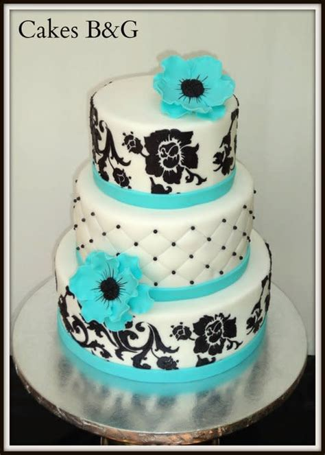 Turquoise Black And White Cake Cake By Laura Barajas