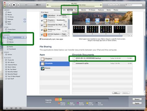 file sharing section of itunes can application a access the quot itunes file shari