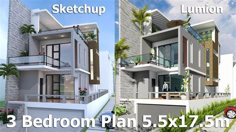 sketchup house design download sketchup modeling 3 stories exterior house design with land size 7mx26m sam architect
