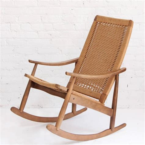 mid century modern rocking chair woven rope mid century modern rocking chair and ottoman at