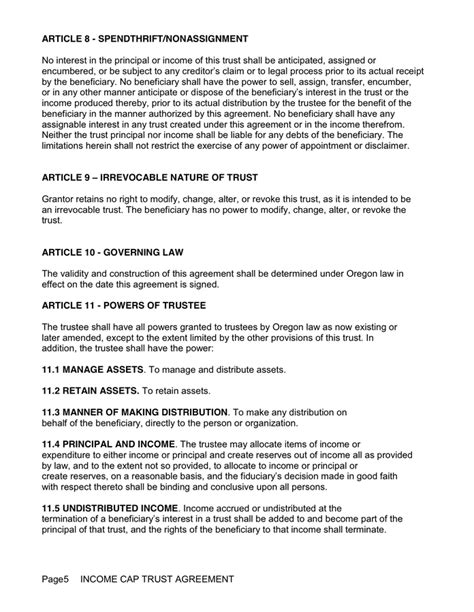 Irrevocable Living Trust Agreement In Word And Pdf Formats Page 5 Of 9 Irrevocable Trust Template