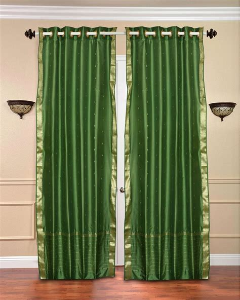 forest green curtains drapes forest green ring top sheer sari curtain drape panel