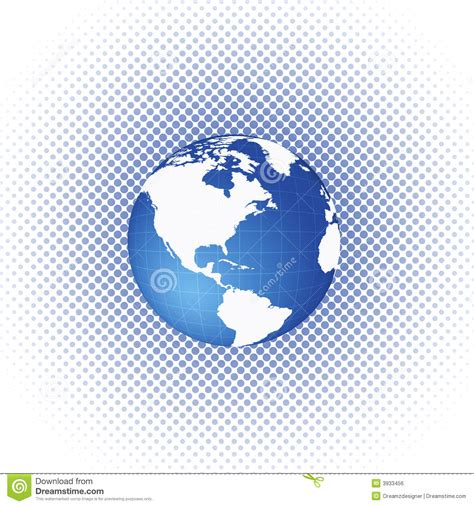 dot pattern globe halftone circle dots with world globe stock illustration