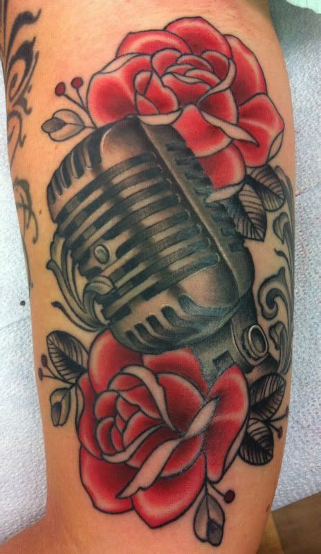 microphone and roses tattoo vintage microphone and dan wants a vintage