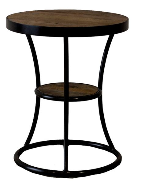 reclaimed wood accent table milan reclaimed wood round end table