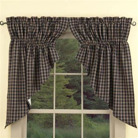 sturbridge plaid curtains primitive country sturbridge navy plaid prairie swags