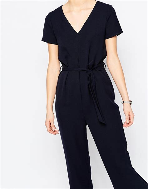 Jumpsuit Catton Navy Sabuk Belt asos jumpsuit with self belt and sleeve in blue lyst
