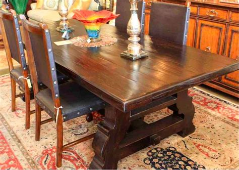 How To Stain Dining Table Reclaimed Wood Trestle Dining Table In A Distressed Stain Finish Mediterranean