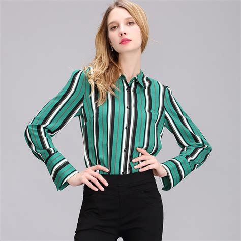 Striped Blouse Tops Big Size 1 2017 autumn green office shirt vertical striped blouses sleeve chiffon