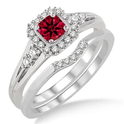 Rubi 6 5 Carat 1 5 carat ruby bridal set halo engagement ring