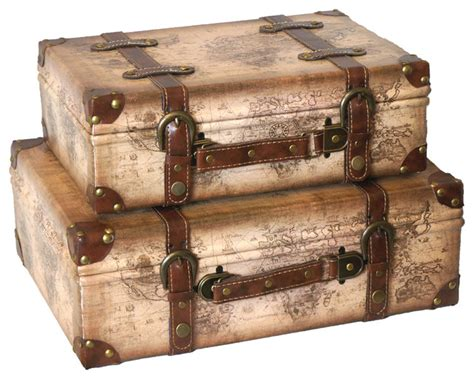 Decorative Suitcase by World Map Leather Vintage Style Suitcase With Straps