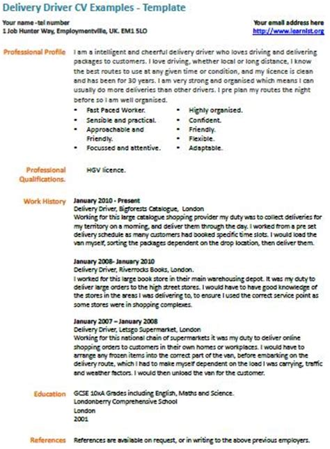 exle of hgv driver cv resume objective exles