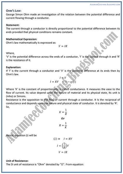 Theory Notes Mba by Adamjee Coaching Current Electricity Theory Notes