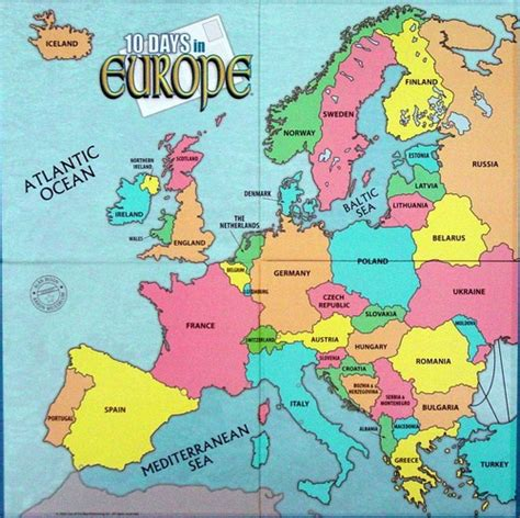 map  europe  countries labeled  travel