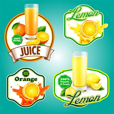 fresh fruits labels shiny vector 03 over millions