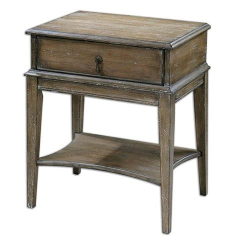 accent table l uttermost hanford weathered pine accent table 24312