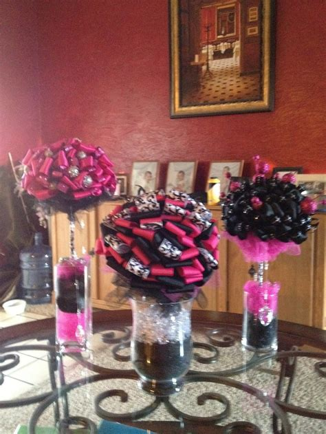 pink and black centerpieces for weddings pink and black centerpieces