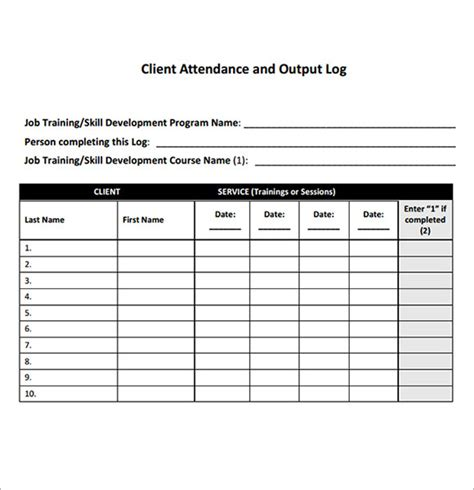 sle of attendance sheet for employees