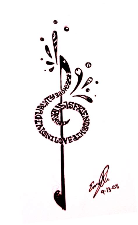treble bass clef tattoo designs treble clef by ylimes on deviantart
