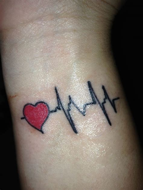 wrist heart tattoos outline water wave and heartbeat on wrist