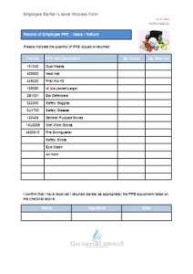 Everyday Gas Manager Forms Gas Support Services Ppe Checklist Template