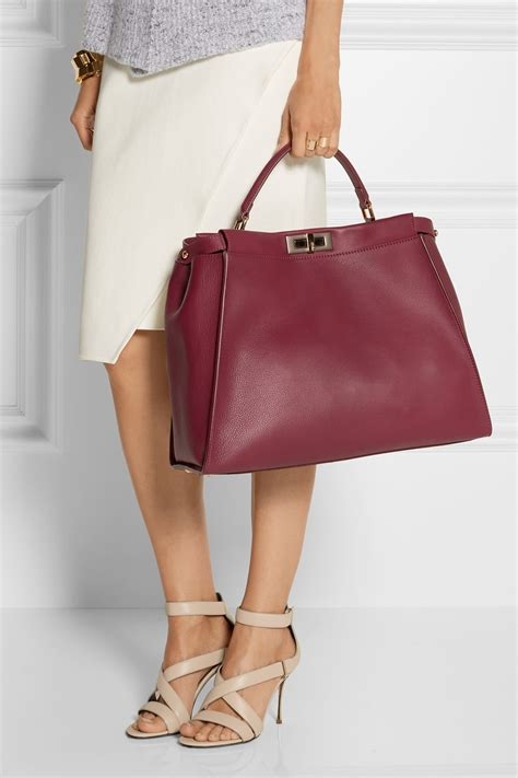 lyst fendi peekaboo medium leather tote  red