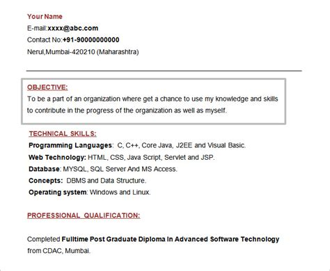 career objective for networking fresher resume objectives 61 free sle exle format