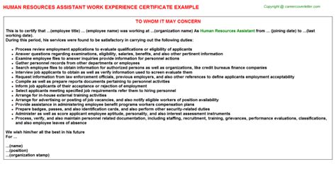 Work Experience Letter For Hr Assistant Human Resources Manager Work Experience Certificates