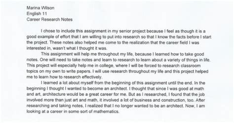 Career Exploration Essay by Career Research Paper Marina S Senior Project