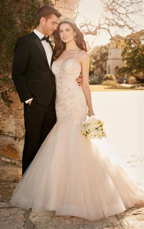 Fit and flare wedding dress with tulle skirt   Essense of