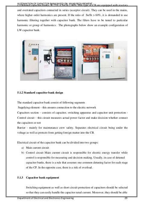 standard capacitor bank rating automation of capacitor banks based on mvar requirement