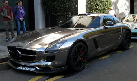 cool wrapped cars oakley design mercedes sls looks surprisingly cool in chrome