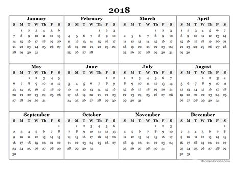 printable calendar 2018 year printable yearly calendar 2018