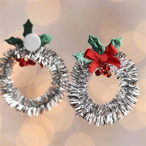 mini silver tinsel christmas wreaths christmas