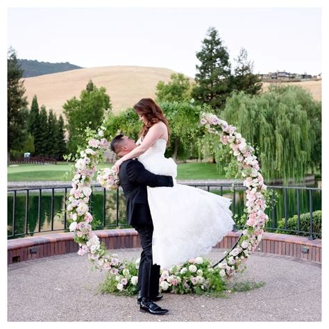 wedding arch circle circle of arch lake backdrop made the