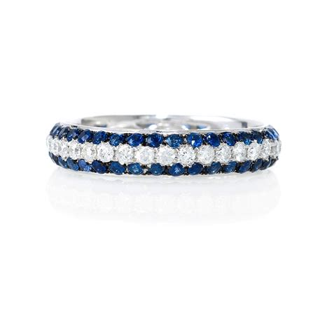 56ct and blue sapphire 18k white gold eternity