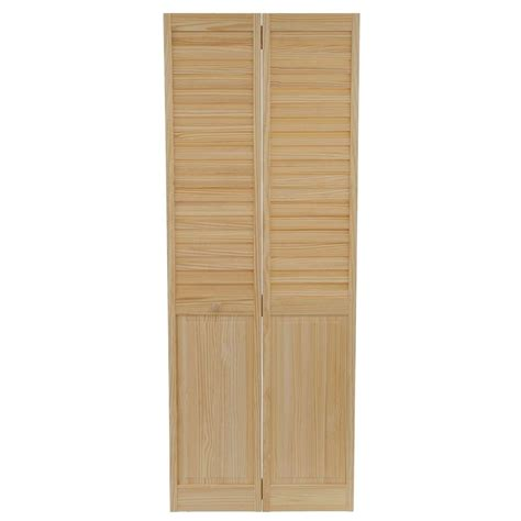 Wooden Bifold Closet Doors Bay 30 In X 80 In 30 In Plantation Louvered Solid Unfinished Panel Wood