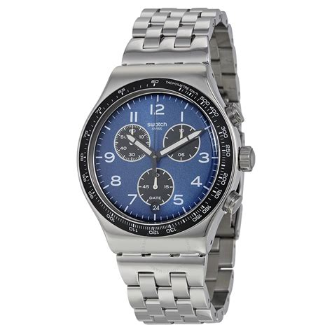 swatch irony watches swatch boxengasse chronograph blue dial stainless steel