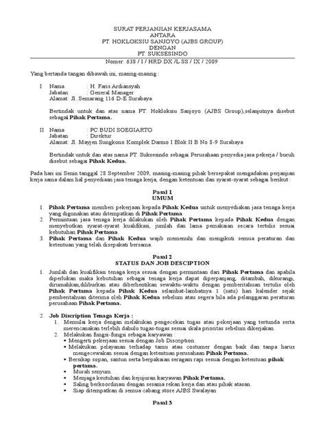 contoh surat perjanjian kerjasama perusahaan doc