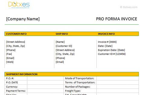 pro forma template word proforma invoice template dotxes