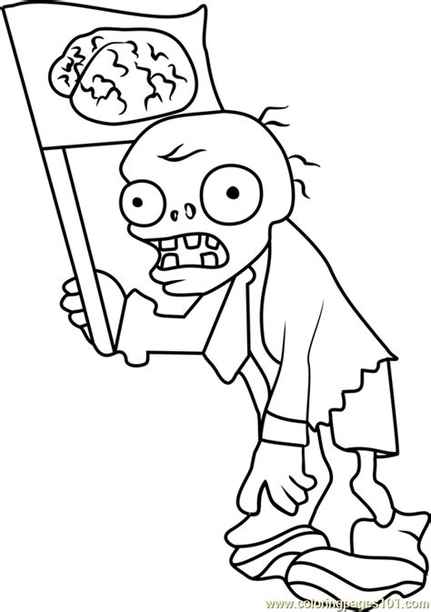 printable coloring pages zombies flag zombie coloring page free plants vs zombies