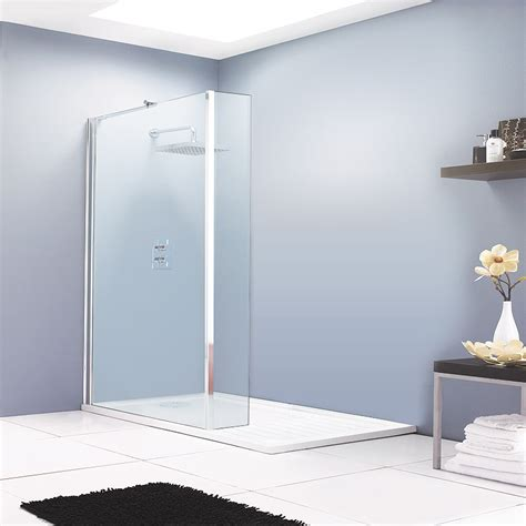 Bath And Shower Enclosures aspen walk in shower enclosure with return panel amp tray