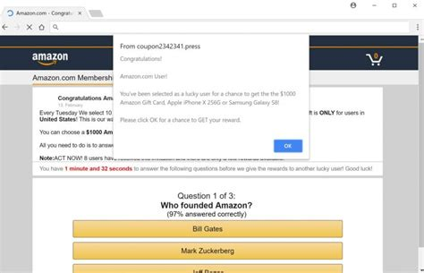 Amazon 1000 Gift Card Scam - remove quot win a 1000 amazon gift card quot fake alerts survey scam