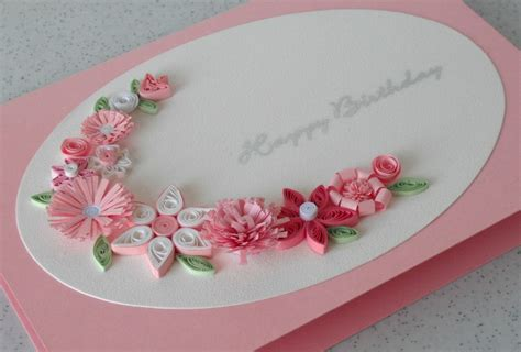 handmade birthday greeting card paper quilled by