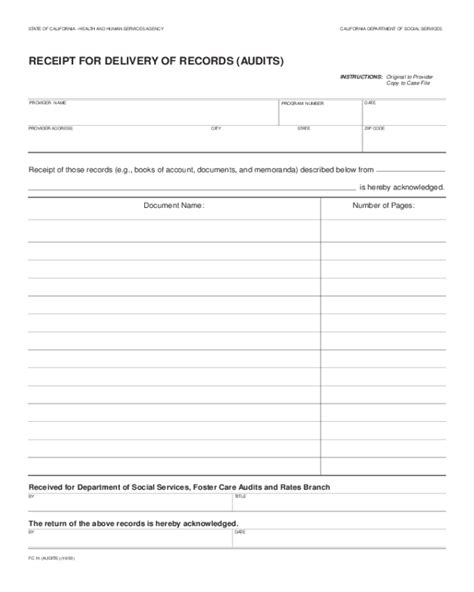 Records For California 2018 Delivery Receipt Form Fillable Printable Pdf Forms Handypdf
