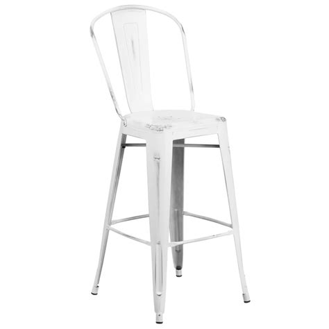 White Metal Bar Stools With Back by Distressed White Metal Bar Height Stool With Vertical Slat