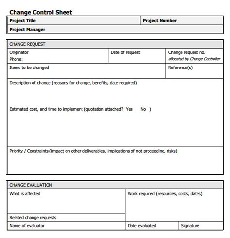 project change management plan template sle change request template 9 free documents in pdf