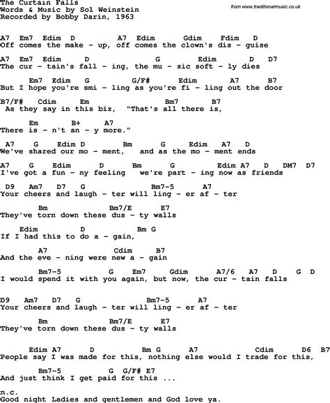 Song Lyrics With Guitar Chords For Curtain Falls The